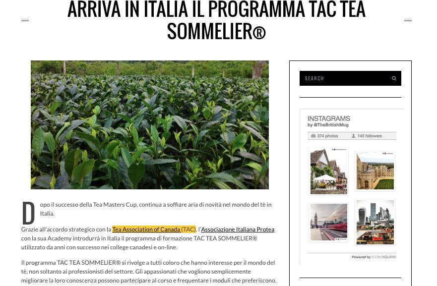 I corsi sul tè di Protea e Tac segnalati da The British Mug
